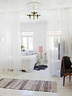 Love The Use Of Sheer Curtains To Divide Spaces In The Room. Clever And  Pretty. Good Idea For Studio Apt // Future House