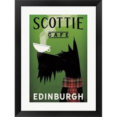 Ryan Fowler Poster Print Wall Art Print entitled Scottie Cafe, None Frames On Wall, Framed Wall Art, Canvas Wall Art, Framed Prints, Canvas Prints, Art Prints, Terrier Dogs, Westies, Illustrations