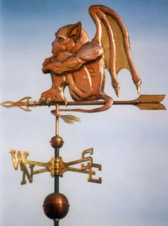 The Gargoyle Weather Vane is handmade of copper with your choice of colored eyes. Custom design and metals available.