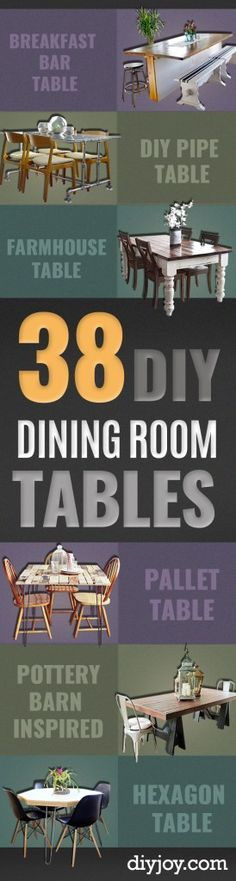DIY Dining Room Table Projects - Creative Do It Yourself Tables and Ideas You Can Make For Your Kitchen or Dining Area. Easy Step by Step Tutorials that Are Perfect For Those On A Budget http://diyjoy.com/diy-dining-room-table-projects