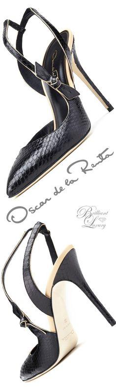 Brilliant Luxury ♦ Oscar de la Renta 'Drew' Black Bow-Detail Elaphe & Leather Slingbacks
