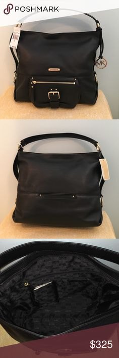 """🎀PRICE DROP MICHAEL KORS PURSE🎀 💗NWT MICHAEL KORS PURSE, Beautiful black leather with shoulder strap, gold accents, zippered pocket in front, small pocket in back.On the inside there are 4 pockets and 1 zippered pocket. 15""""wide 12"""" tall, Comes With dust bag. MICHAEL Michael Kors Bags Shoulder Bags"""