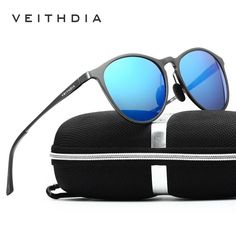 b8cac1cc28 Veithdia Mens Retro Aluminium Polarized Sunglasses Round Frame Drving Eyewear  Polarized Sunglasses