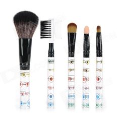 Color: Multicolored - Handle material: Plastic - Brush material: Fiber - Professional and portable 5-in-1 makeup brushes set - Durable, make a natural and long lasting makeup - Packing list: - 1 x Eyebrow and eyelash two use brush - 1 x Eyebrow brush - 1 x Eye shadow brush - 1 x Sponge eye shadow brush - 1 x Blush brush http://j.mp/1naYPXs