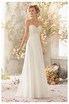 2015 Wedding Dresses For The Beach with Sweetheart,A-line,Chiffon Fabric,Court Train,B2015011303