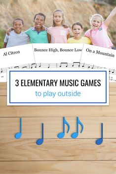 Three elementary music songs and games that are great for playing outside. You can use jump ropes, basketballs, and empty pop cans to play Al Citron, On a Mountain, and Bounce High, Bounce Low. Kids definitely need more chances to play outside, and these games work perfectly for that!