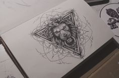 dot dotwork dotworktattoo tattoo tattoos tattoosketch sketch sketchbook moleskine my art my artwork graphic graphic art graphics lion triangle blackwork ...