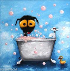Original Fine Art Acrylic Canvas Painting Black Cat Bath Duck Bubbles Framed | eBay