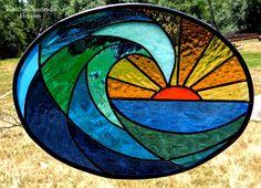 Stained Glass Suncatcher, Ocean Wave at Dawn, Oval Shaped, Surf Art Window Hanging, Ocean Scene, Beach Decor, Coastal, Glass Wave