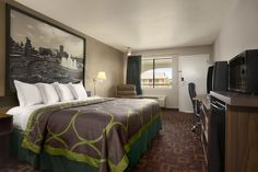 Guest room at the Super 8 Oklahoma Airport Fairgrounds West in Oklahoma City, Oklahoma