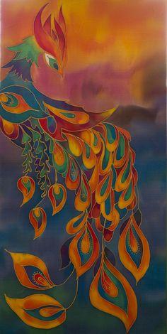 Original Batik Silk Painting Wall Hanging 15 by 30 by Katyasbatic