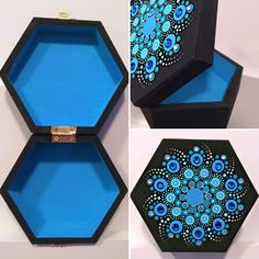 Splash of blue mandala ArtBox Custom order 5x5 wooden box