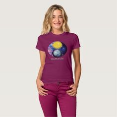Yang-Yin / Sun-Moon Namaste T-Shirt speaks to the ever present duality of nature. A complementary dynamic which forms a whole that is greater than its parts. When you wear this T-shirt for your yoga practice you will be in balance with the universe and a more complete being. Over 2800 products at my Zazzle online store. Open 24/7  World wide! Custom one-of-a-kind items shipped to your door. This art is exclusively @  http://www.zazzle.com/greg_lloyd_arts*?rf=238198296477835081