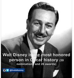 Walt <3 Is the Most honored person in Oscar History.