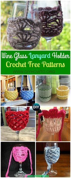 Assortment of Crochet Wine Glass Lanyard Holder Free Patterns: Crochet Wine Glass Cozy, Lanyard & Necklace Patterns through DIYHowTo Crochet Cup Cozy, Quick Crochet, Knit Or Crochet, Crochet Gifts, Free Crochet, Crochet Summer, Crochet Things, Crochet Stitch, Wine Glass Crafts