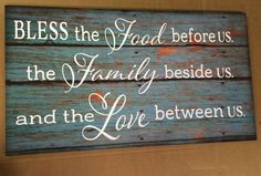 Bless the Food Before Us The Family Beside Us and the Love between Us Wood Sign Canvas Art Mother's Day Thanksgiving Christmas Hostess Gift,
