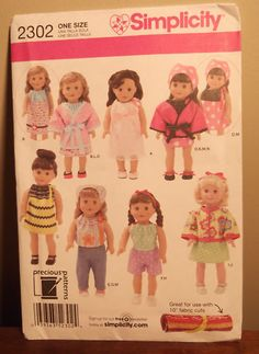 "Sewing Pattern, S2302, For American Girl /18"" Doll, New"