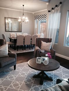 Dovetail gray walls with cream and gray accents and a pop of chevron