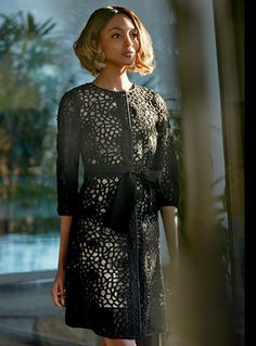 St. John - Caviar crochet lace topper self-tie belt included $. Cream Luxe Sculpture Knit dress $.