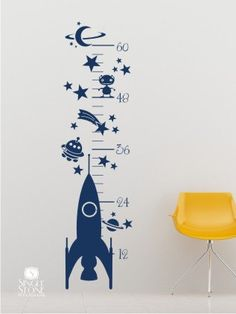 Rocket Growth Chart Wall Decal - Vinyl Wall Art. $52.00, via Etsy.