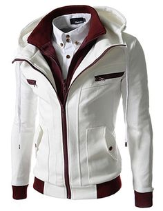 Slim Fit Double Zipper Hood Cotton Jacket