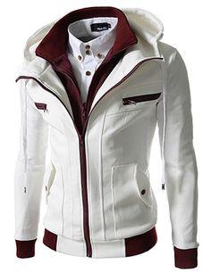 Slim Fit Double Zipper Hood Cotton Jacket