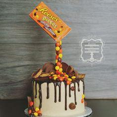 Baking Up Treble Reeses Drip Cake. Baking Up Treble. Baking Up Treble Reeses Drip Cake. Baking Up Treble. Chocolate Drip Cake, Chocolate Strawberry Cake, Chocolate Recipes, Candy Cakes, Cupcake Cakes, Lollipop Cake, Cupcakes, Mini Cakes, Reeces Cake