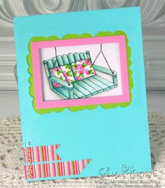 Window card using Lockhart Garden Swing stamp, colored with Copic markers.