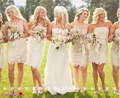 Champagne Lace Bridesmaid Dress Short Lace Dress by FashionStreets, $129.00  Except in a blush color