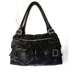 a597f57a688c Kooba Shoulder Bag Handbag Tote Black Leather Dual Pockets Buckle Zip   Kooba  ShoulderBag Women s. eBay
