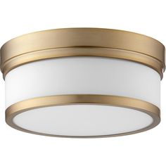 Celeste Aged Brass Two-Light Ceiling Mount - Diffuser Material: Glass - Shade Color: Satin opal - Hardwired - Bulb (s) Not Included - Wipe with dry cloth - Limited Lifetime Manufacturer Warranty Quorum International - Ceiling Light Fixtures, Ceiling Lights, Filter, Semi Flush Lighting, Hall Lighting, House Lighting, Lighting Ideas, Lighting Design, Flush Mount Ceiling