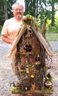 Large Gnome Home - wonderful natural details - made from an old tree stump, drift wood, moss, and fairy garden supplies