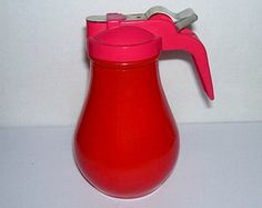 Gemco Fired On Red Glass Syrup Pitcher Server
