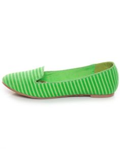 Dollhouse Teenz Green Striped Smoking Slipper Flats  23.00