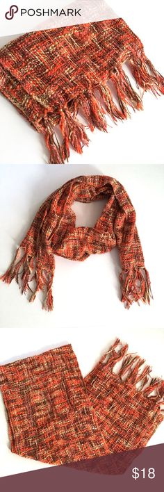 Loose Weave Tweed Style Scarf with Fringe Loose weave Tweed style scarf with Fringe // pretty fall colors: orange, brown, tan, Mauve // non-smoking home // Same Day/Next Day Shipping!! // 2.25.18 // Bundle Discounts // measurements provided upon request Accessories Scarves & Wraps
