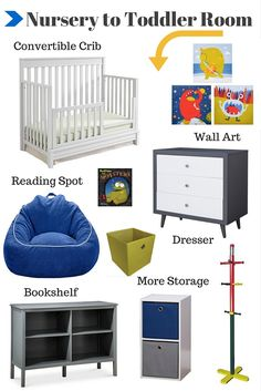 Great ideas on how to create a nursery that will easily transition into a toddler room.