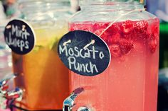 Moscato Punch :: 2 bottles Skinnygirl Moscato wine, 3 cups of Sprite, 1 can of frozen pink lemonade concentrate, 1 pint fresh raspberries