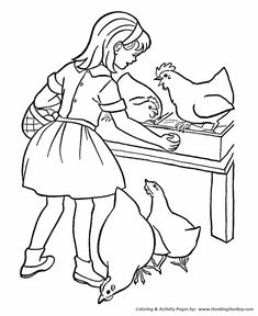 Farm Work and Chores coloring page | Farm Girl collecting eggs