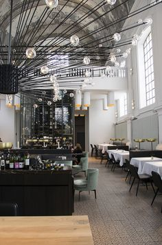 super stylish The Jane restaurant in Antwerp designed by PSLAB