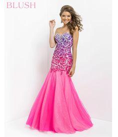 Blush 2014 Prom Dresses - Shocking Pink Strapless Sequin Prom Gown - Unique Vintage - Prom dresses, retro dresses, retro swimsuits.