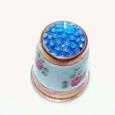 Enamel Floral Sterling Thimble with Blue Glass  Jeweled Top