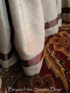 Be-Ribboned Bed Skirt - great idea for Curtains too Bed Drapes, Burlap Curtains, Drapery, Mirrors And Chandeliers, Burlap Projects, Sewing Projects, Dressing Screen, Custom Drapes, Screen Design