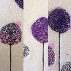 Alliums created using needle felting and freehand machine embroidery.