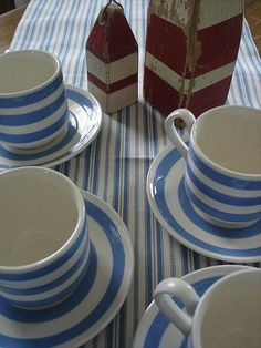 Set of 6 Vintage Carrigaline Cups and Saucers Cornishware, Pottery Making, Pottery Studio, Inspired Homes, Cup And Saucer, All The Colors, Tablescapes, Beach House, My Favorite Things