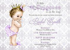 Vintage Purple and Grey Damask Little Princess Baby Shower Invitation by CuddleBugInvitations