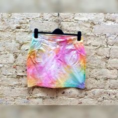 Mini Skirt Tie Dye Pastel Rainbow to fit UK Size 10 or US size 6 Winter Trends Christmas Gifts for Her