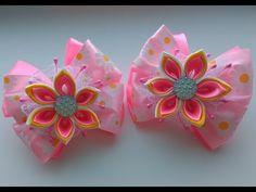 Праздничные бантики из лент с цветком Канзаши МК / Festive ribbon bows with flower Kanzashi MK - YouTube