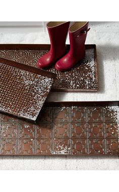 Antiqued Copper Boot Tray