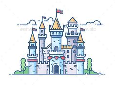 Buy Medieval Stone Castle by evanat on GraphicRiver. Medieval stone castle with gate towers and flags. Castle Illustration, Outline Illustration, Flat Design Illustration, Web Design, Vector Design, Vector Art, Vector Illustrations, Castle Drawing, House Drawing