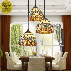 European Tiffany Retro Shell Mediterranean Pastoral Pendant Lights 3 Line  Head Luminaria Teto Hanging Lamps For Home Decoration